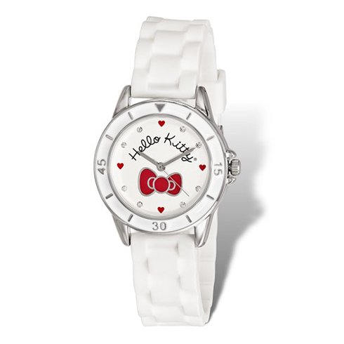 Hello Kitty Red Bow White Silicone Strap Watch