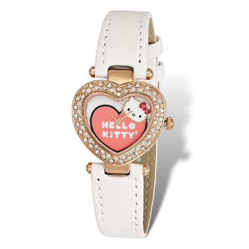 Hello Kitty Pink Plated Crystal Bezel Heart Watch