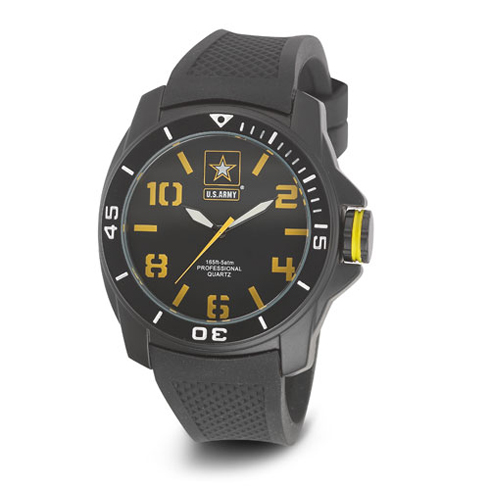 Wrist Armor US Army C25 Watch Black Yellow Dial with Black Rubber Strap