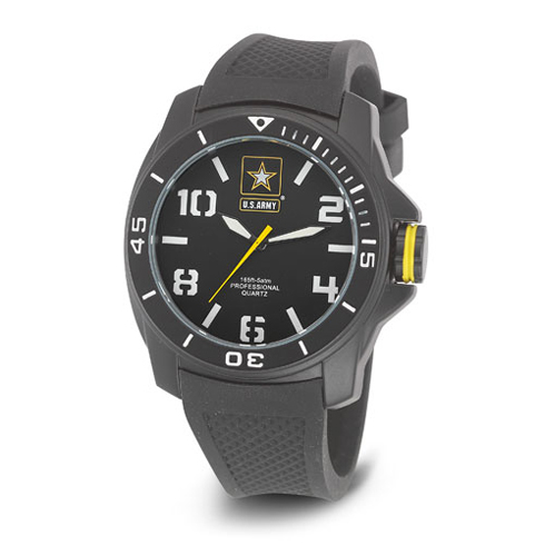 Wrist Armor US Army C25 Watch Black White Dial with Black Rubber Strap