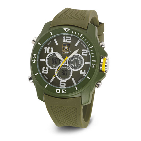 Wrist Armor US Army C24 Digital Chronograph Watch Green White Dial