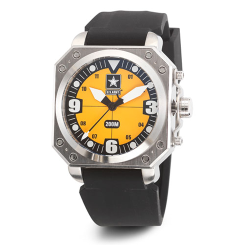 Wrist Armor US Army C4 Watch Yellow Dial with Black Silicone Strap
