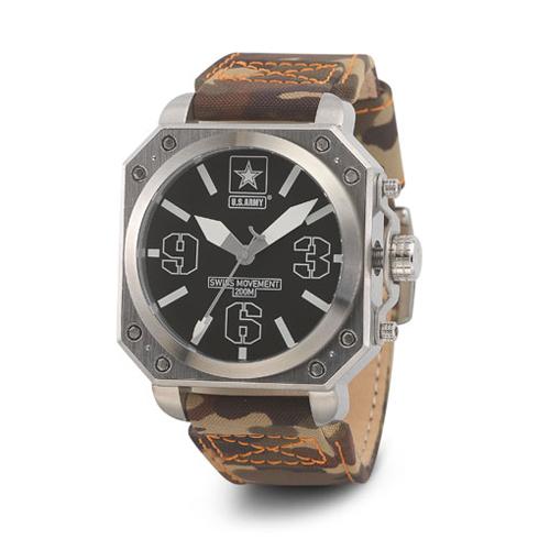 Wrist Armor US Army C4 Watch Black Dial with Camo Nylon Strap