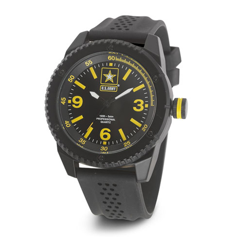 Wrist Armor US Army C20 Watch Black Yellow Dial with Black Rubber Strap