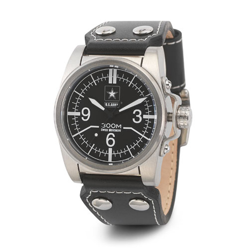 Wrist Armor US Army C1 Watch Black Dial with Black Leather Strap