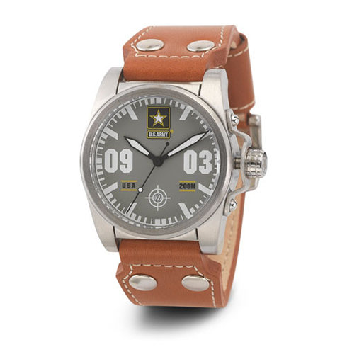 Wrist Armor US Army C1 Watch Gray Dial with Brown Leather Strap
