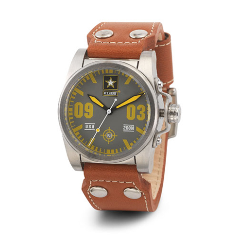 Wrist Armor US Army C1 Watch Gray Yellow Dial with Brown Leather Strap