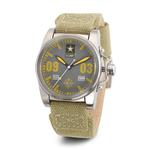 Wrist Armor US Army C1 Watch Gray Yellow Dial Light Green Canvas Strap