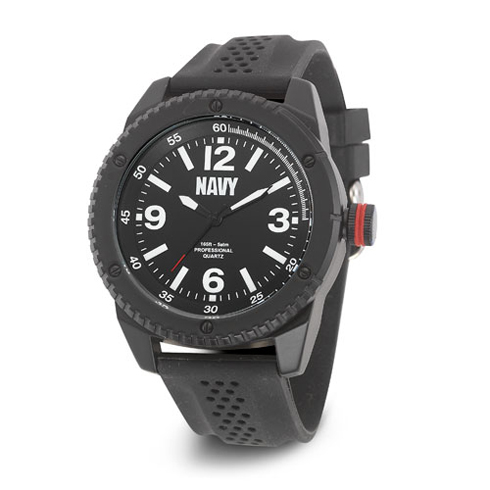 Wrist Armor US Navy C20 Watch Black White Dial with Black Rubber Strap