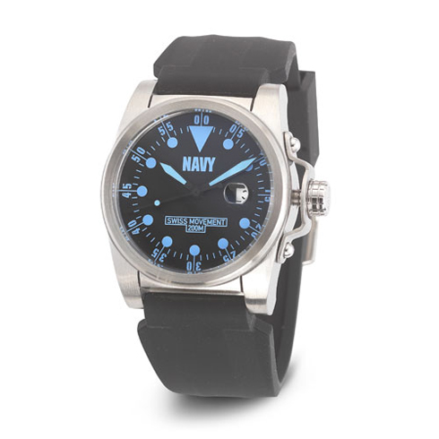 Wrist Armor US Navy C1 Watch Black Blue Dial with Black Silicone Strap