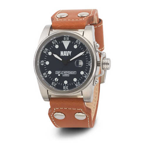 Wrist Armor US Navy C1 Watch Dark Blue Dial with Brown Leather Strap