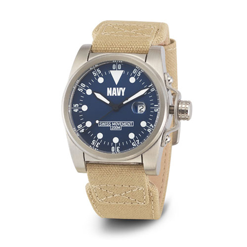 Wrist Armor US Navy C1 Watch Blue Dial with Khaki Canvas Strap