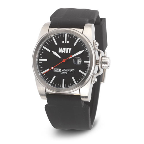Wrist Armor US Navy C1 Watch Black White Dial with Black Silicone Strap