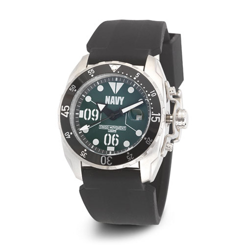 Wrist Armor US Navy C3 Watch Green Dial with Black Silicone Strap