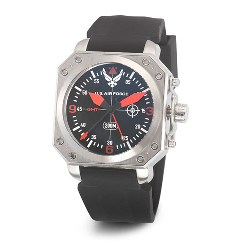 Wrist Armor US Air Force C4 Watch Black Red Dial Black Silicone Strap