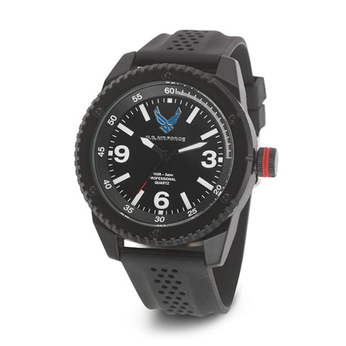 Wrist Armor US Air Force C20 Watch Black White Dial with Black Rubber Strap