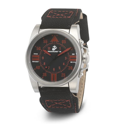Wrist Armor US Marines C1 Black Dial Black Canvas Strap Swiss Quartz Watch