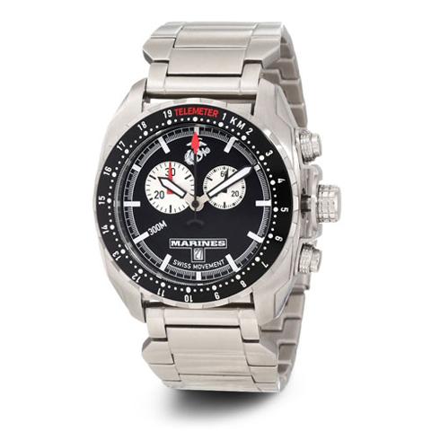 Wrist Armor US Marines C3 Swiss Chronograph Watch Black Dial