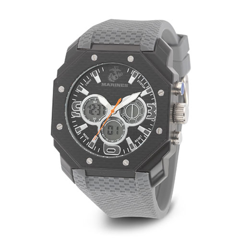 Wrist Armor US Marines C28 Digital Chronograph Watch Black Dial with Gray Rubber Strap