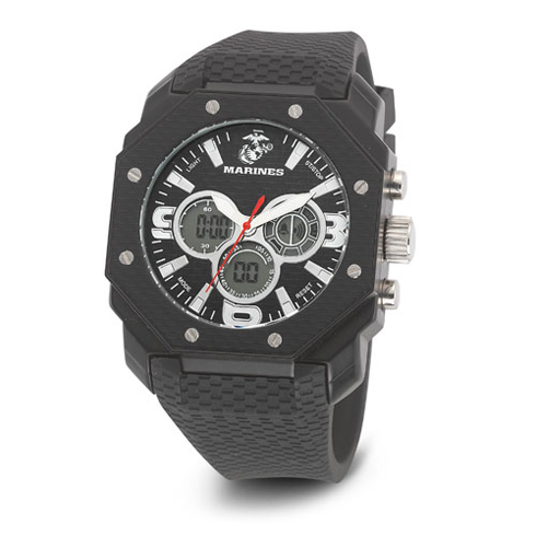 Wrist Armor US Marines C28 Digital Chronograph Watch Black Dial with Black Rubber Strap
