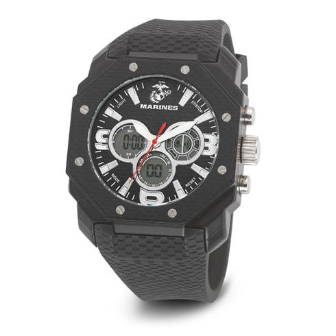 Wrist Armor US Marines C28 Digital Chronograph Watch Black Dial with Black Rubber Strap