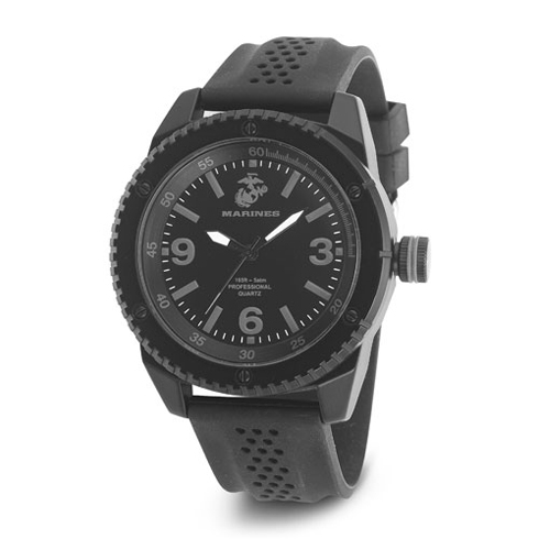 Wrist Armor US Marines C20 Stealth Dial Watch Black Rubber Strap