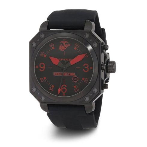 Wrist Armor US Marines C4 Black Red Dial Rubber Strap Quartz Watch