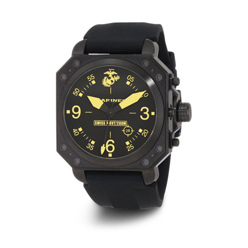 Wrist Armor US Marines C4 Black Yellow Dial Black Rubber Strap Swiss Quartz Watch