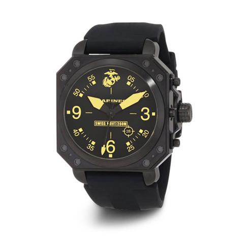 Wrist Armor US Marines C4 Black Dial Rubber Strap Swiss Quartz Watch