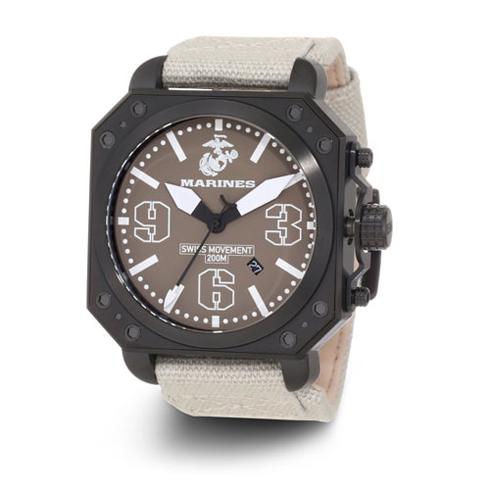 Wrist Armor US Marines C4 Swiss Quartz Watch Brown Dial Canvas Strap