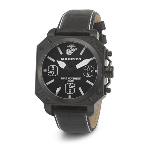 Wrist Armor US Marines C4 Swiss Quartz Watch Black Dial Leather Strap