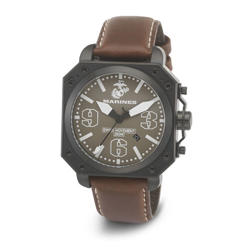 Wrist Armor US Marines C4 Swiss Quartz Watch Brown Dial Leather Strap
