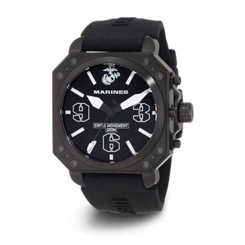 Wrist Armor US Marines C4 Swiss Quartz Watch Black Dial Black Rubber Strap
