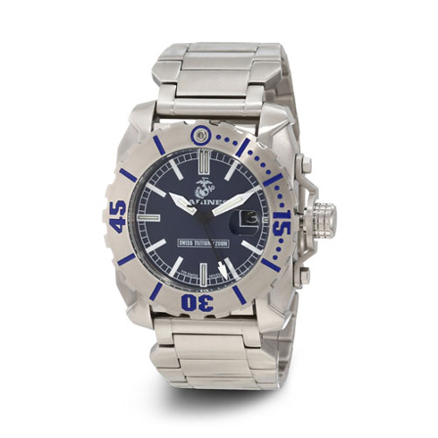 Wrist Armor US Marines C2 Stainless Steel Swiss Quartz Watch with Tritium