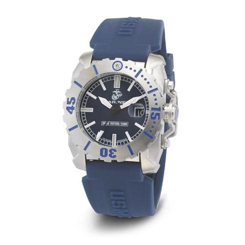 Wrist Armor US Marines C2 Blue Rubber Swiss Quartz Watch with Tritium