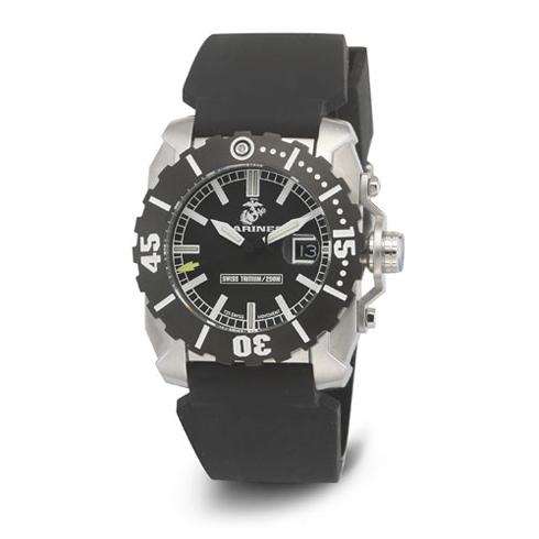 Wrist Armor US Marines C2 Black Rubber Swiss Quartz Watch with Tritium