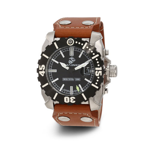 Wrist Armor USMC C2 Black Dial Leather Swiss Quartz Watch with Tritium