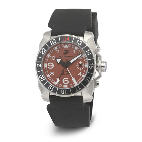 Wrist Armor US Marines C3 Red Dial Black Rubber Strap Swiss GMT Watch