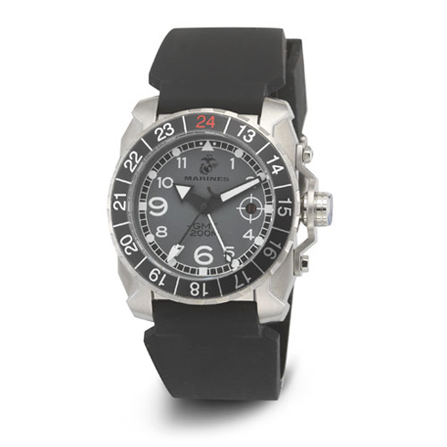 Wrist Armor US Marines C3 Gray Dial Black Rubber Strap Swss GMT Watch