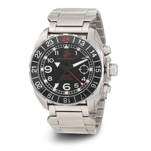 Wrist Armor US Marines C3 Stainless Steel Steel Swiss GMT Watch