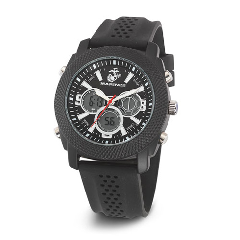 Wrist Armor US Marines C21 Digital Chronograph Watch Black Dial with Black Rubber Strap
