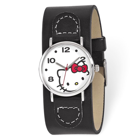 Hello Kitty Black Faux Leather White Dial Watch
