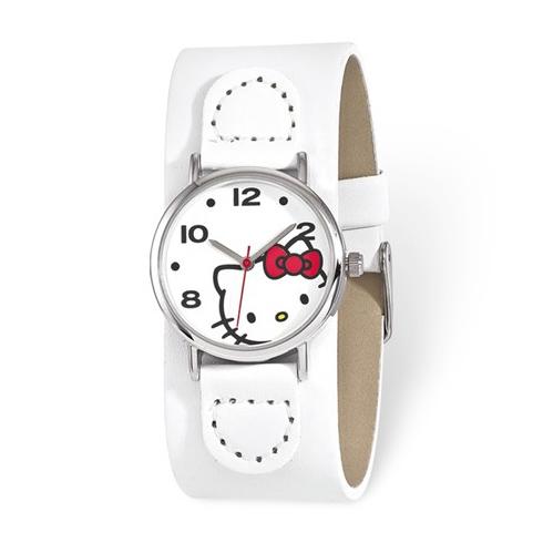 Hello Kitty White Faux Leather White Dial Watch