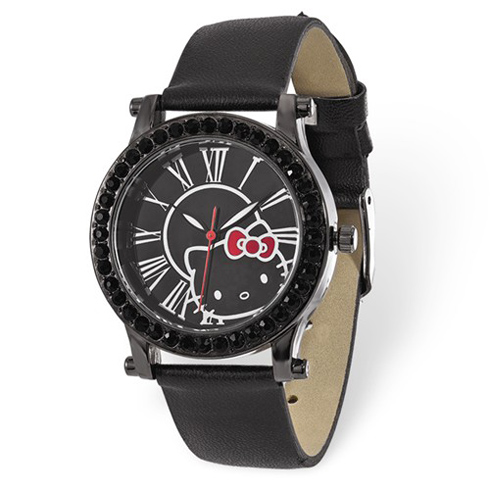 Hello Kitty Black Crystal Bezel Roman Numerals Watch