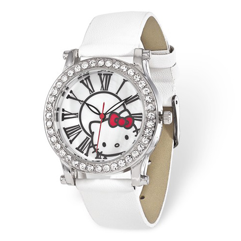 Hello Kitty White Crystal Bezel Roman Numerals Watch