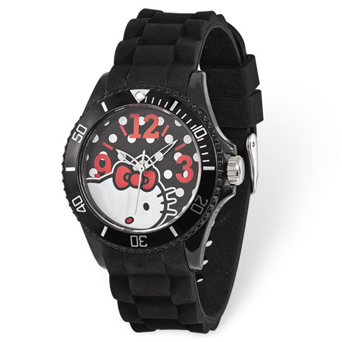 Hello Kitty Black Dial Silicone Strap Watch
