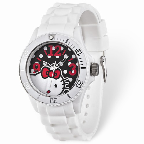 Hello Kitty White Dial Silicone Strap Watch