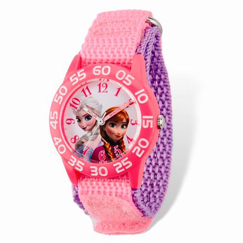 Frozen Pink Purple Velcro White Dial Time Teacher Watch
