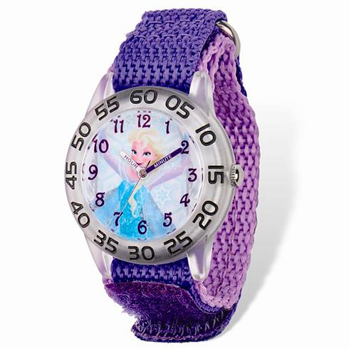 Frozen Elsa Purple Velcro White Dial Time Teacher Watch