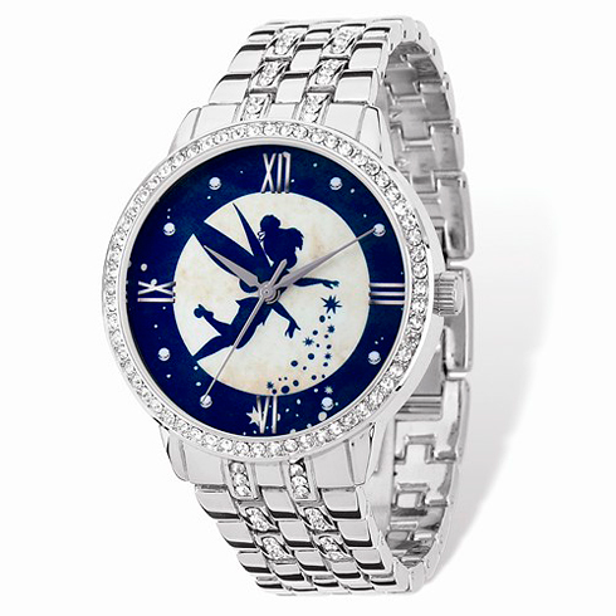 Tinker Bell Blue Silhouette Silver-tone Crystal Bracelet Watch